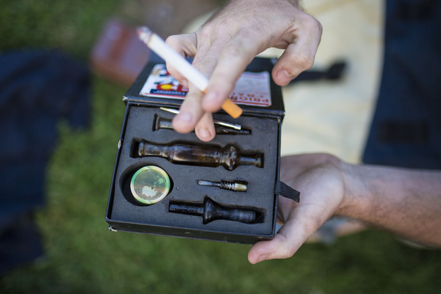 Tools to smoke forms of marijuana are displayed in Commons Park in Denver Colorado, Wednesday, Aug. 31, 2016. Elizabeth Page Brumley/Las Vegas Review-Journal Follow @ELIPAGEPHOTO