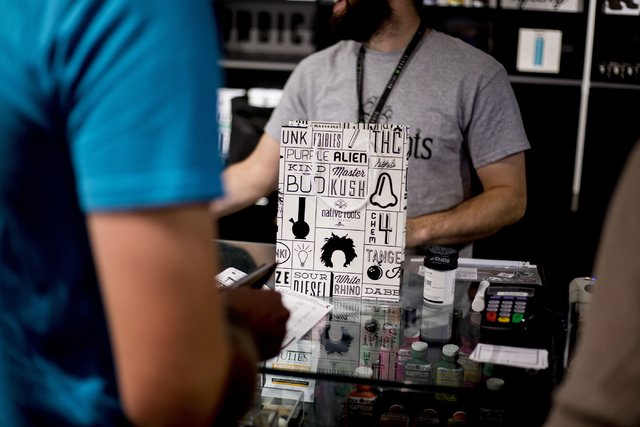 Customers of Native Roots Dispensary purchase different forms of recreational marijuana in Denver Colorado Wednesday, Aug. 31, 2016. Elizabeth Page Brumley/Las Vegas Review-Journal Follow @ELIPAGE ...
