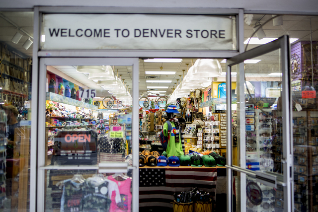 A store on the 16th mall in Denver Colorado has marijuana apparel in their store front Friday, Sept. 2, 2016. Elizabeth Page Brumley/Las Vegas Review-Journal Follow @ELIPAGEPHOTO