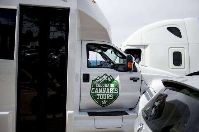 A Colorado Cannabis Tour bus drops off a group to tour Medicine Man, a family owned dispensary in Denver Colorado, Friday, Sept. 2, 2016. Elizabeth Page Brumley/Las Vegas Review-Journal Follow @EL ...