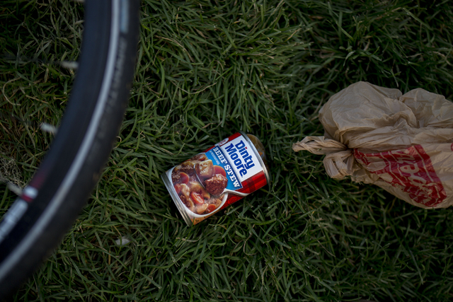 A can of soup was left after eaten cold and shared amongst friends at Commons Park, Wednesday, Aug. 31, 2016, in Denver. Elizabeth Page Brumley/Las Vegas Review-Journal Follow @ELIPAGEPHOTO