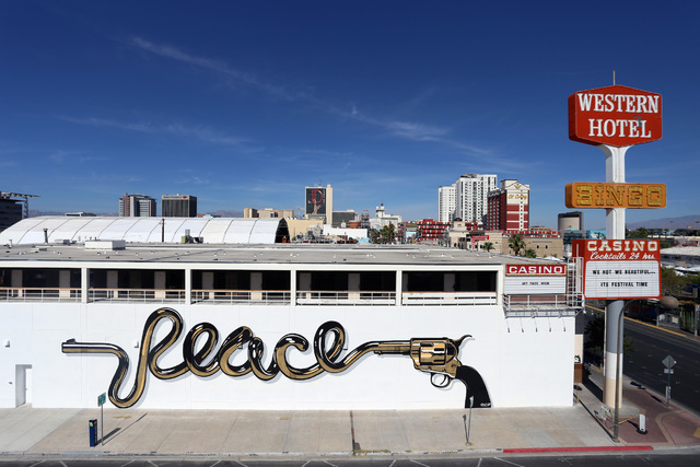 """Peace is a dirty word."" by D*Face. Courtesy Kirvin Doak."