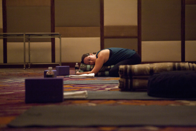 Carissa Eisele participates in a yoga class, which is part of the new digital detox program at the Mandarin Oriental hotel-casino on Saturday, Sept. 10, 2016, on the Las Vegas Strip. Loren Townsle ...