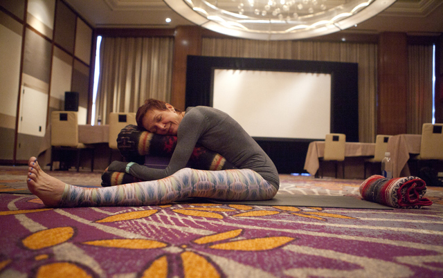 Yoga teacher Susan Holmes teaches a yoga class, which is part of the new digital detox program at the Mandarin Oriental hotel-casino on Saturday, Sept. 10, 2016, on the Las Vegas Strip. Loren Town ...