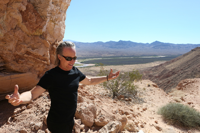 Architect Wendell Burnette of Phoenix shares his thoughts on Double Negative, an earth sculpture by Michael Heizer on Mormon Mesa just northeast of Logandale on Sept. 15, 2016. (Michael Quine/Las  ...