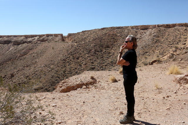Architect Wendell Burnette of Phoenix takes in the view from Double Negative, an earth sculpture by Michael Heizer on Mormon Mesa just northeast of Logandale on Sept. 15, 2016. (Michael Quine/Las  ...