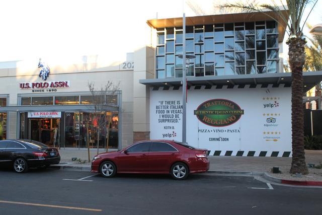 The Trattoria Reggiano restaurant is seen under construction in Downtown Summerlin in this 2014 file photo. (Erik Verduzco/Las Vegas Review-Journal)