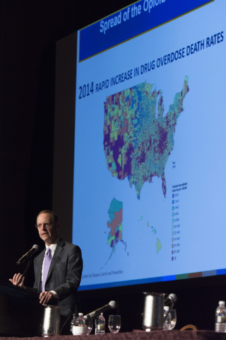 Scott Pattison, executive director with the National Governors Association, speaks during Gov. Brian Sandoval's Prescription Drug Abuse Prevention Summit at MGM Grand hotel-casino in Las Vegas, We ...