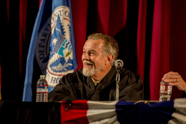 Honorable James C. Mahan smiles during a naturalization ceremony at Cashman Field Thursday, Sept. 22, 2016, in Las Vegas. (Elizabeth Page Brumley/Las Vegas Review-Journal) Follow @ELIPAGEPHOTO