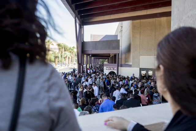 People are lined up to attend a naturalization ceremony at Cashman Field Thursday, Sept. 22, 2016, in Las Vegas. (Elizabeth Page Brumley/Las Vegas Review-Journal) Follow @ELIPAGEPHOTO
