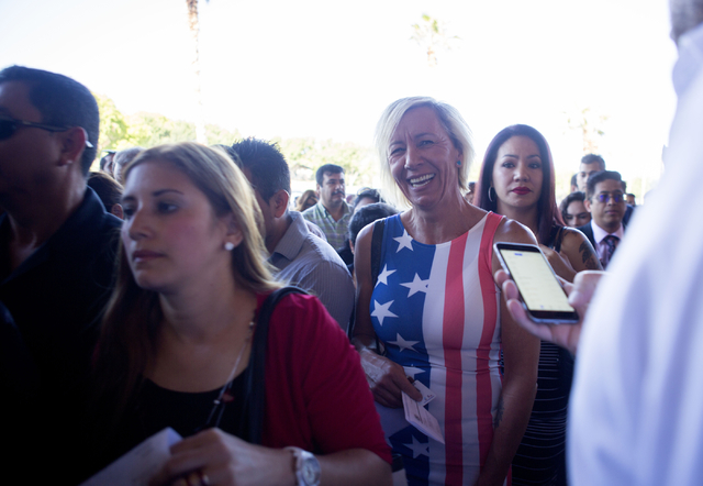 People are lined up to attend the naturalization ceremony at  Cashman Field Thursday, Sept. 22, 2016, in Las Vegas. (Elizabeth Page Brumley/Las Vegas Review-Journal) Follow @ELIPAGEPHOTO