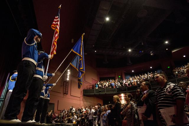 People attend a naturalization ceremony at Cashman Field Thursday, Sept. 22, 2016, in Las Vegas. E(Elizabeth Page Brumley/Las Vegas Review-Journal) Follow @ELIPAGEPHOTO
