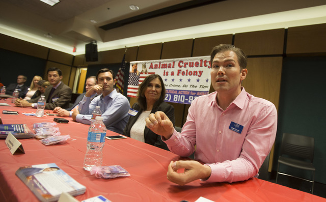 "Assembly District 2 candidate Owen Carver speaks on the topic of animal cruelty during the event, ""Animal Friendly Candidate Meet & Greet,"" hosted by the Nevada Political Act ..."