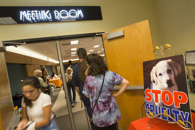 "Attendees arrive at the event, ""Animal Friendly Candidate Meet & Greet,"" hosted by the Nevada Political Action for Animal at the Rainbow Library in Las Vegas on Sunday, Sept. ..."