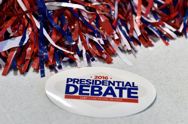 Debate memorabilia is displayed at debate watch event at UNLV Monday, Sept. 26, 2016, in Las Vegas.  Several hundred college, middle and high school debate students watched the first presidential  ...