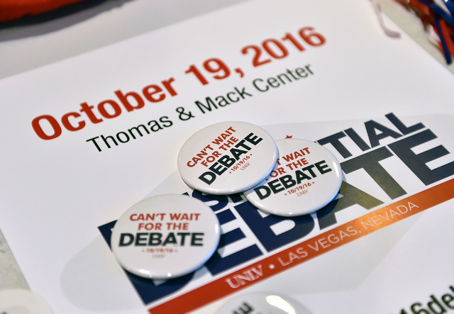 Debate memorabilia is displayed at debate watch event at UNLV Monday, Sept. 26, 2016, in Las Vegas.  About 300 college, middle and high school debate students provided commentary and answered ques ...