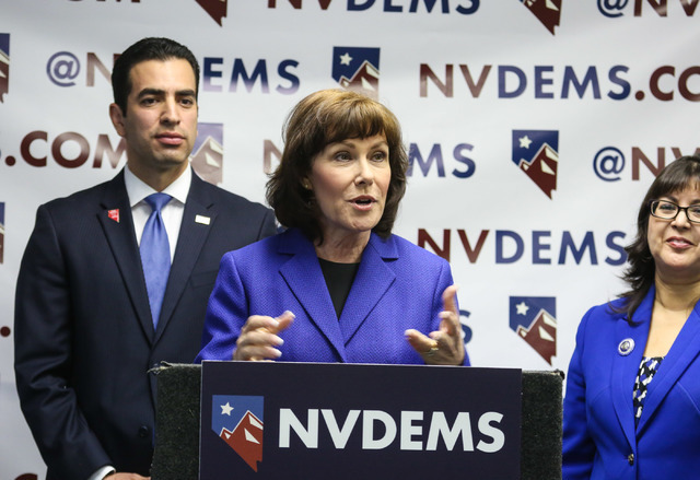Jacky Rosen, Congressional District 3 cadidate, speaks at the Nevada State Democratic Party's press conference regarding the democrative general election June 15, 2016. (Elizabeth Brumley//Las Veg ...