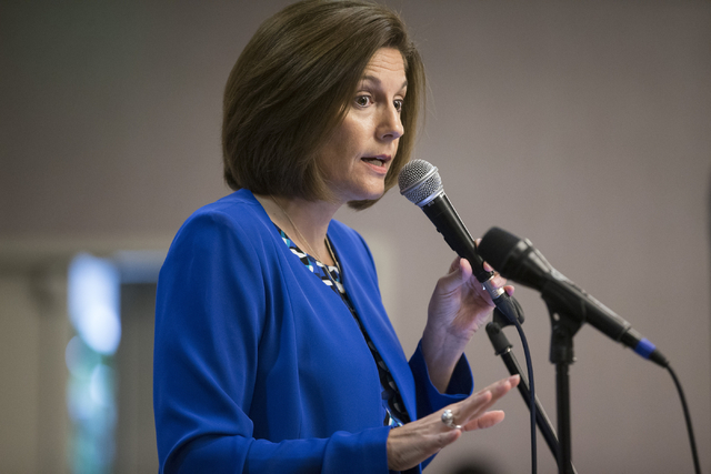 Erik Verduzco/Las Vegas Review-Journal Nevada Democratic U.S. Senate candidate Catherine Cortez Masto speaks during the Lambda Business Association monthly luncheon on Aug. 16 at the Gay and Lesbi ...