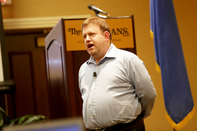 Pollster and political guru Frank Luntz addresses the business community on Monday, Sept. 19, 2016, at the Las Vegas Metro Chamber of Commerce's Eggs & Issues breakfast at The Orleans Hotel &a ...