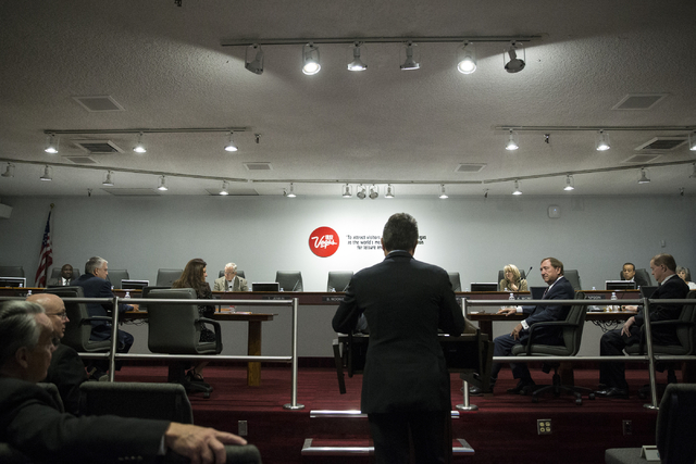 UNLV president Len Jessup speaks in front of the Las Vegas Convention and Visitors Authority board of directors during a public meeting at the Las Vegas Convention Center Board Room to discuss det ...
