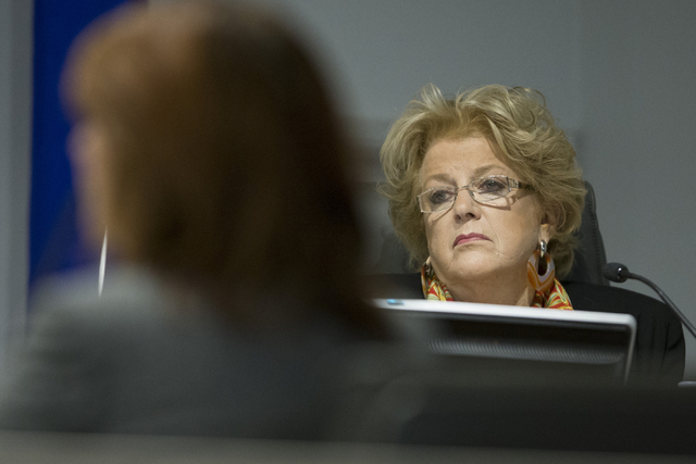 Las Vegas Mayor Carolyn Goodman participates in the Las Vegas Convention and Visitors Authority board of directors public meeting at the Las Vegas Convention Center Board Room to discuss details o ...