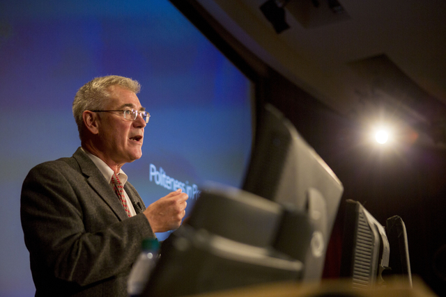 Edward Hinck, professor at the College of Communication & Fine Arts at Central Michigan University, talks about politeness in presidential debates at the UNLV Presidential Debate Lecture Serie ...