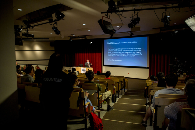 UNLV students listen as Edward Hinck, professor at the College of Communication & Fine Arts at Central Michigan University, talks about politeness in presidential debates at the UNLV President ...