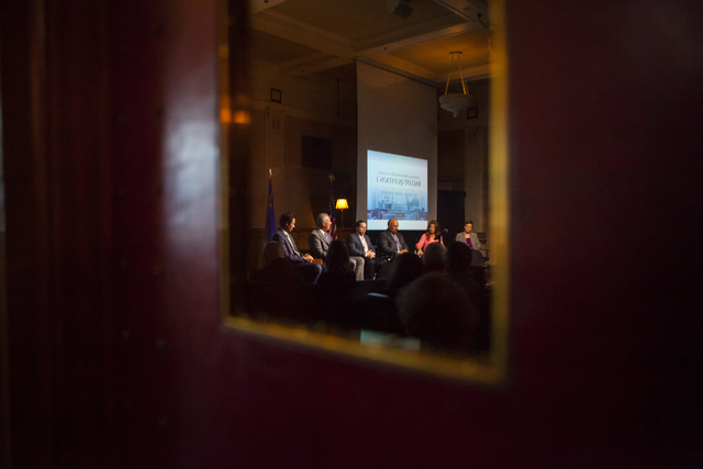 People participate in a town hall discussion on Question 1 at the Mob Museum in Las Vegas on Thursday, Sept. 29, 2016. Question 1 is the Nevada State ballot initiative to expand firearm background ...