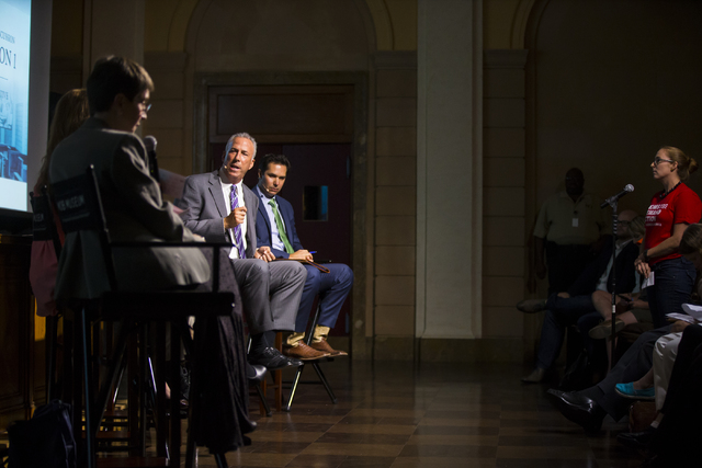 Clark County District Attorney Steve Wolfson, left, speaks during a town hall discussion on Question 1 at the Mob Museum in Las Vegas on Thursday, Sept. 29, 2016. Question 1 is the Nevada State ba ...