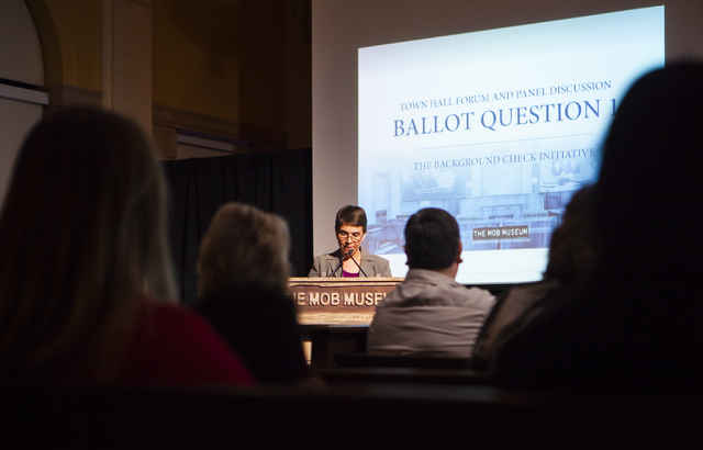 Moderator Sondra Cosgrove, a professor at College of Southern Nevada, speaks during a town hall discussion on Question 1 at the Mob Museum in Las Vegas on Thursday, Sept. 29, 2016. Question 1 is t ...