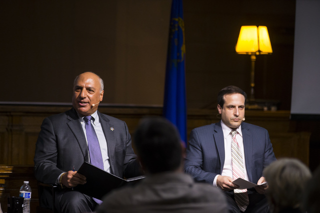 Las Vegas City Councilman Stavros Anthony, left, speaks during a town hall discussion on Question 1 as William Sousa, professor and director of the Center for Crime and Justice Policy at UNLV, loo ...