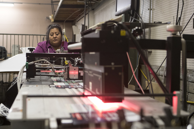 Veronica Tovar works at the A&B Printing and Mailing headquarters on Thursday, Sept. 22, 2016, in Las Vegas. Loren Townsley/Las Vegas Review-Journal Follow @lorentownsley
