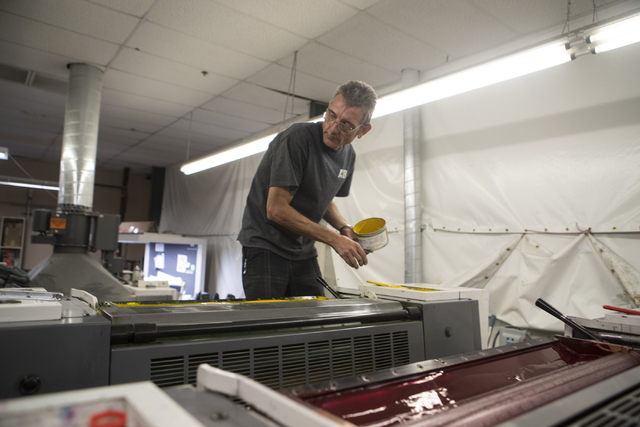David Welcher works at the A&B Printing and Mailing headquarters on Thursday, Sept. 22, 2016, in Las Vegas. Loren Townsley/Las Vegas Review-Journal Follow @lorentownsley