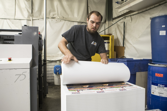 Eric Christ works at the A&B Printing and Mailing headquarters on Thursday, Sept. 22, 2016, in Las Vegas. Loren Townsley/Las Vegas Review-Journal Follow @lorentownsley