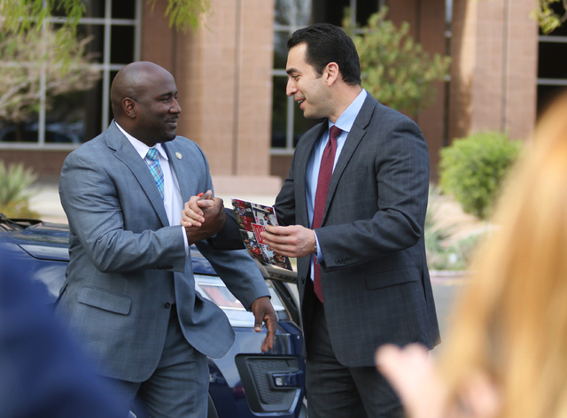 Democratic state Senator Ruben Kihuen, right, shakes hands with Las Vegas Councilman Ricki Barlow prior to filing with the Secretary of State's office for the Congressional District 4 race Monday, ...