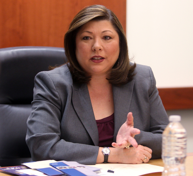 Gerri Schroder, an incumbent candidate for Henderson City Council Ward 1, talks to the Las Vegas Review-Journal editorial board at the Review-Journal offices in Las Vegas Wednesday, Feb. 18, 2015. ...