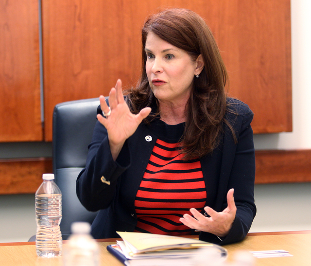 Debra March, an incumbent candidate for Henderson City Council Ward 2, talks to the Las Vegas Review-Journal editorial board at the Review-Journal offices in Las Vegas on Tuesday, March 3, 2015. ( ...