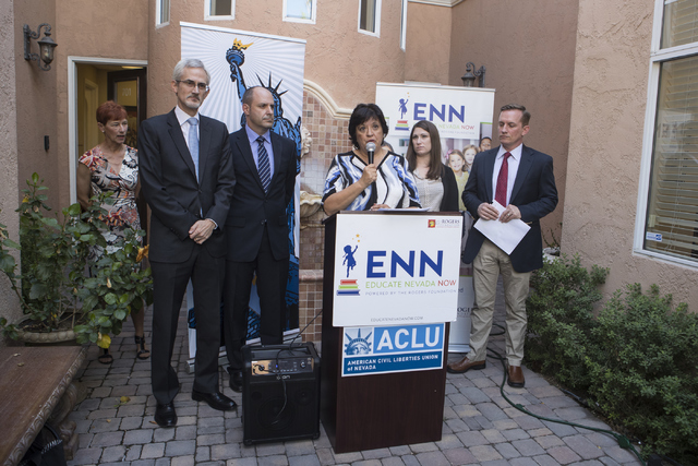 Policy Director of Educate Nevada Now Dr. Sylvia Lazos speaks at a press conference in response to the Nevada Supreme Court decision on Educational Savings Accounts on Thursday, Sept. 29, 2016, at ...