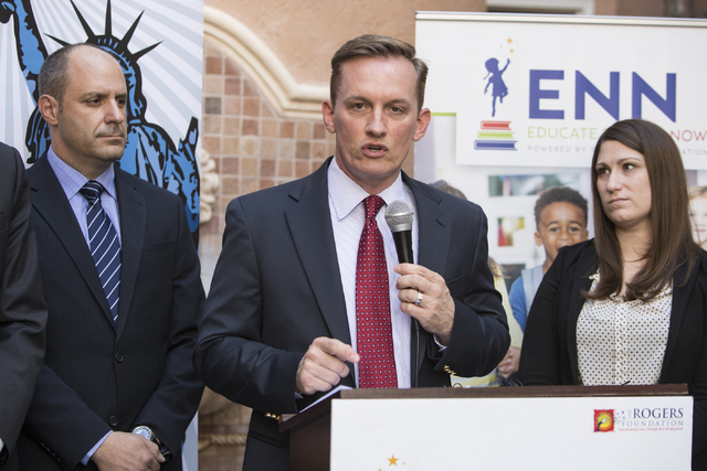 Executive Director of American Civil Liberties Union of Nevada (ACLU) Tod Story speaks at a press conference in response to the Nevada Supreme Court decision on Educational Savings Accounts on Thu ...