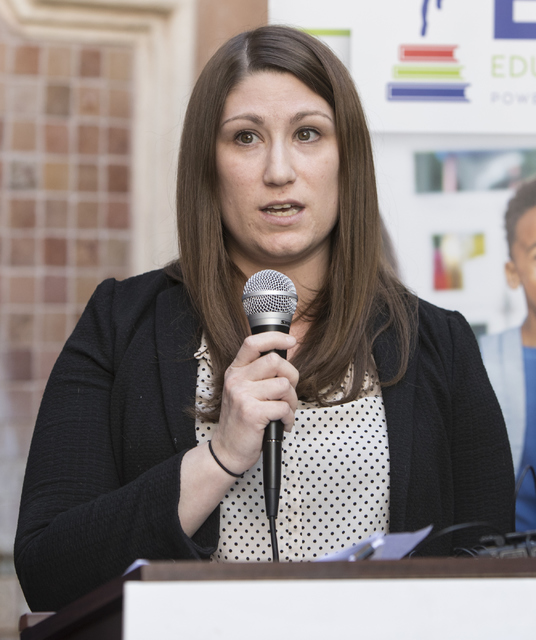 Legal Director of American Civil Liberties Union of Nevada (ACLU) Tod Story speaks at a press conference in response to the Nevada Supreme Court decision on Educational Savings Accounts on Thursda ...