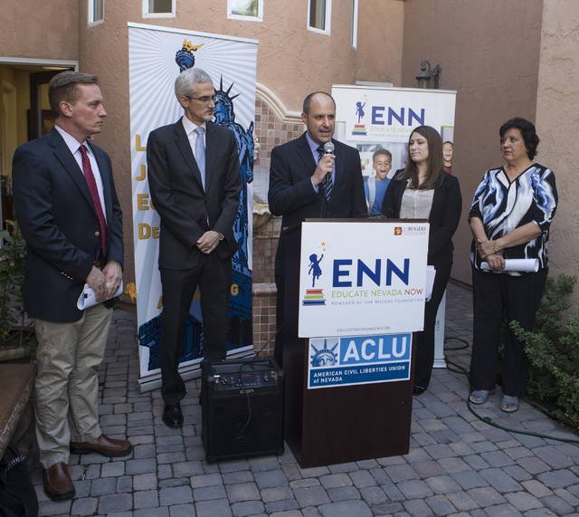 Director of Communications at Nevada State Education Association (NSEA) Nick DiArchangel speaks at a press conference in response to the Nevada Supreme Court decision on Educational Savings Accoun ...