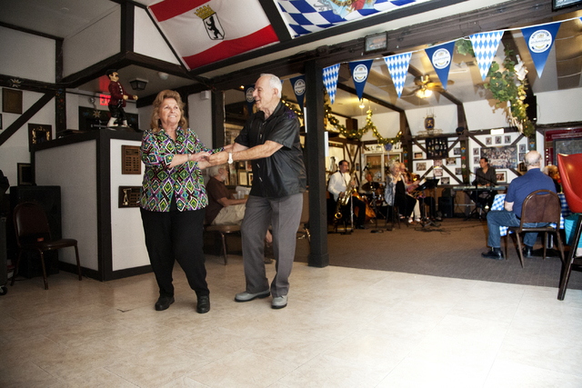Diane Rosenthal and Marty Levy swing to the tunes at the German American Social Club of Nevada at 1110 East Lake Mead Blvd., in Las Vegas on Tuesday Sept. 20, 2016. Jeferson Applegate/Las Vegas Re ...