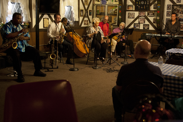 """Jazz players get together on Tuesday nights to perform at the German American Social Club of Nevada at 1110 East Lake Mead Blvd., in Las Vegas on Tuesday Sept. 20, 2016. From left, """"Sid t ..."""