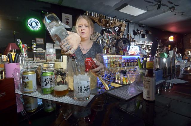 Bartender and general manager Shani Garrett mixes a drink at Rebar at 1225 S. Main St. in Las Vegas Aug. 27. Bill Hughes/View