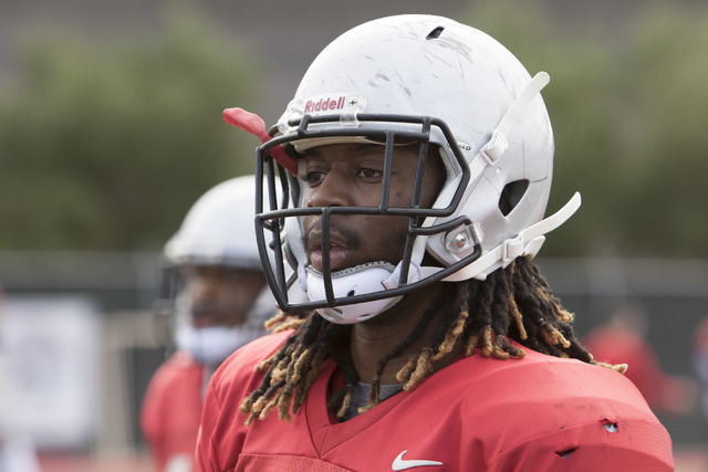 UNLV linebacker LaKeith Walls (20) looks on during team practice at the Bill 'Wildcat' Morris Rebel Park field on Tuesday, Sept. 20, 2016. (Richard Brian/Las Vegas Review-Journal) Follow @vegaspho ...