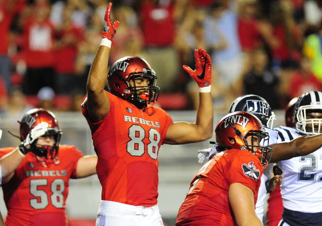UNLV Rebels tight end Andrew Price (88) celebrates a touchdown against Jackson State in the first half of their NCAA college football game at Sam Boyd Stadium in Henderson Wednesday Sept. 1, 2016. ...