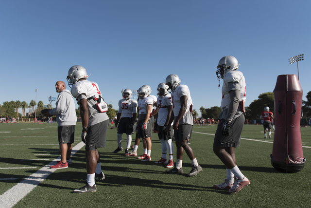 Players stand on the sideline during football practice at UNLV's Rebel Park in Las Vegas, Tuesday, Sept. 27, 2016. (Jason Ogulnik/Las Vegas Review-Journal)