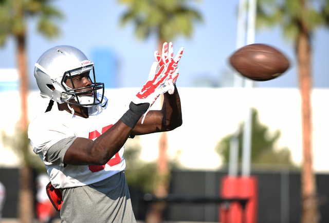 Wide Receiver Devonte Boyd (83) catches a pass during football practice at Rebel Park inside the UNLV campus in Las Vegas on Thursday, Aug. 25, 2016. (Martin S. Fuentes/Las Vegas Review-Journal)