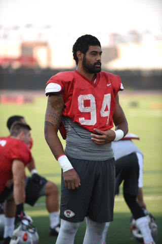 Defensive end Jeremiah Valoaga (94) at football practice at Rebel Park inside the UNLV campus in Las Vegas on Thursday, Aug. 25, 2016. (Martin S. Fuentes/Las Vegas Review-Journal)