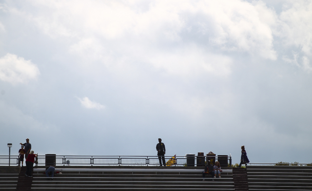 Attendees are silhouetted against the sky before UNLV takes on Central Michigan in a football game at Kelly/Shorts Stadium in Mount Pleasant, Mich. on Saturday, Sept. 17, 2016. Chase Stevens/Las V ...